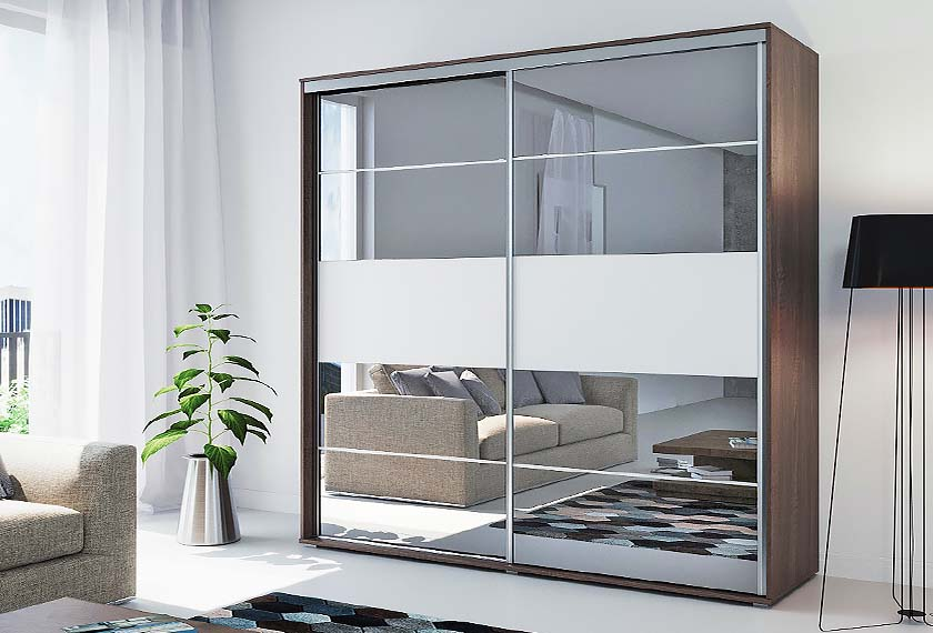 Двухдверный зеркальный шкаф купе