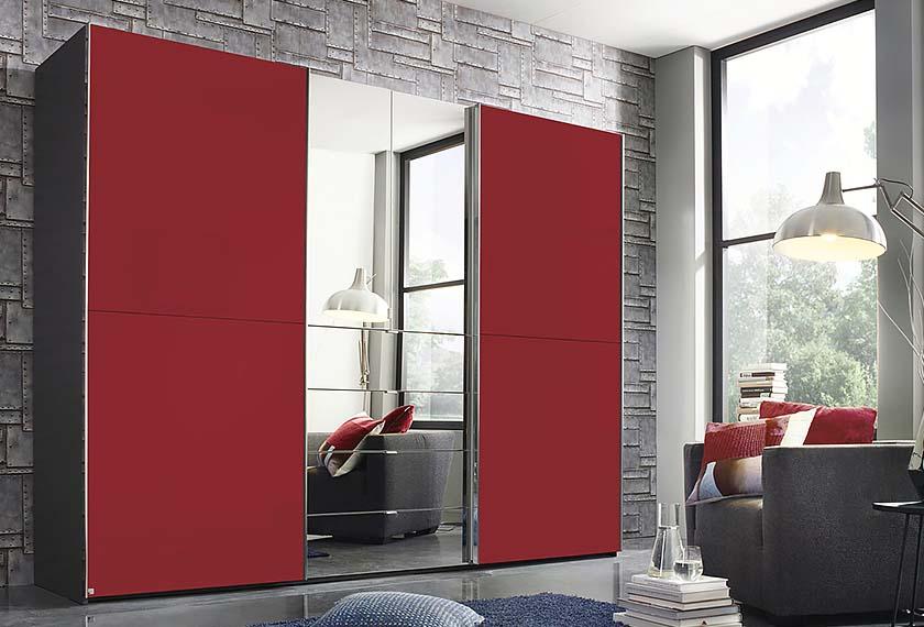 красный шкаф купе с зеркалом